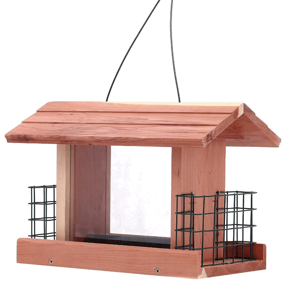 Handmade natural cedar hanging large capacity decorative high quality wood bird feeder