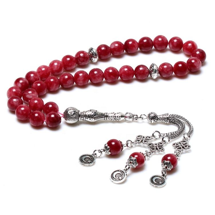 High Quality Red Stone 10MM Allah Tasbih Prayer Beads Rosary Misbaha Muslim Tesbih