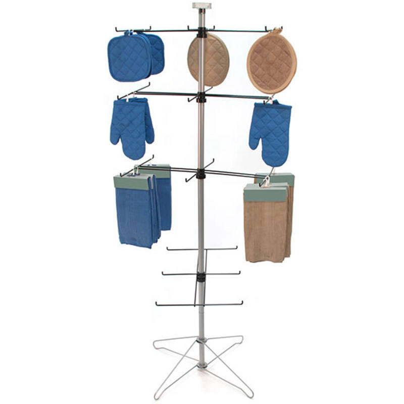 Metal 4 Tier Clothing Hanging Wire Spinner Rack with Sign Clip