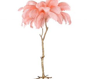 New fancy natural feather resin body indoor LED E27 antique standing floor lamps for home hotel