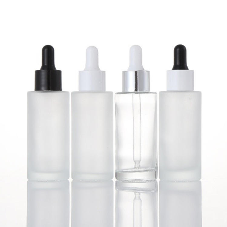 20ml 30ml 50ml 100ml essential oil serum flat shoulder frosted clear glass dropper bottle