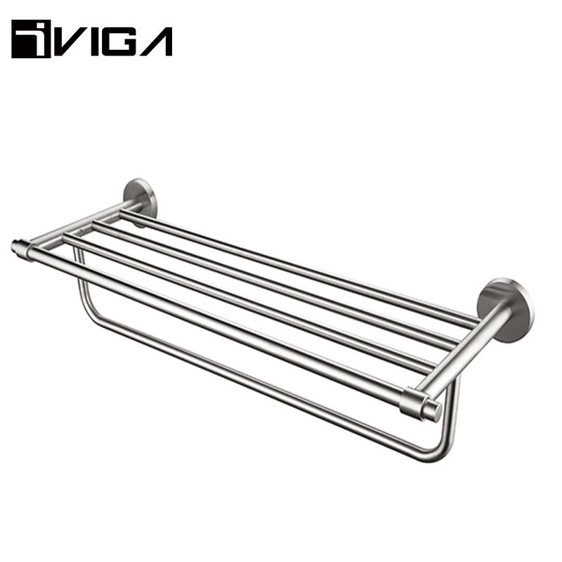 Good Quality Hotel Metal Bathroom Accessories Brushed Nickel Towel Shelf Holder Brass Wall Mount Towel Rack