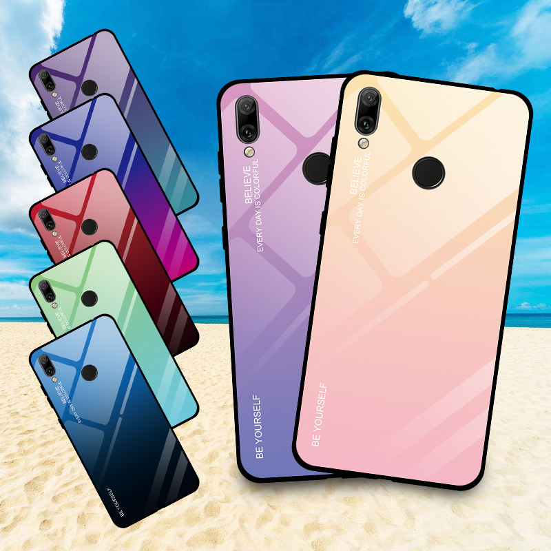 BXM Fashion Phone cover For Huawei Y7 Y7 Pro Y7 Prime Y9 Y6 Pro 2019 P Smart Z Gradient Color Tempered Glass Phone case