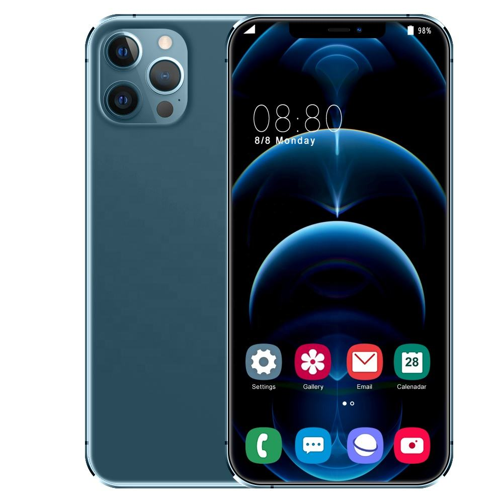 New Hot-sale i12pro Max Android Smartphone 8GB+256GB 3G 4G 5G Wholesale Mobile Phone With Big Screen GPS+Wifi+Blue tooth
