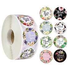 ZY0182C Amazon hot selling flowers printing thank stickers circular adhesive 8color Holiday gift decorations sticker