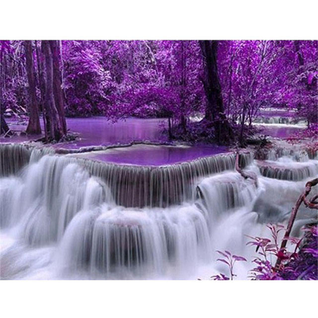 Waterfall diy oil painting by number wall art for adult, Home and wall decoration purple forest image oil paint by number