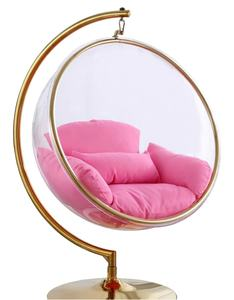 Golden Bubble ball chair Hanging swing egg chair home furniture Acrylic Hanging chair with stand