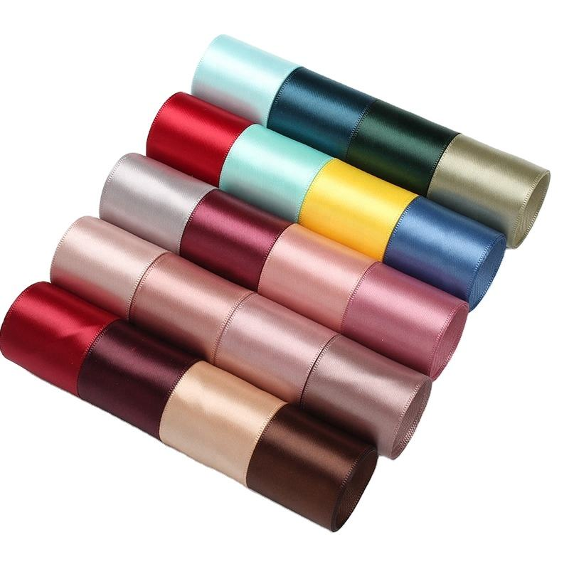 Good quality wholesale 38 mm 1-1/2 inch single/double faced polyester satin ribbon for webbing decoration