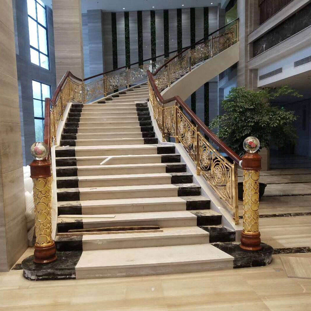 bridge handrail balcony Bronze color antique granite stairs handrail aluminum railings