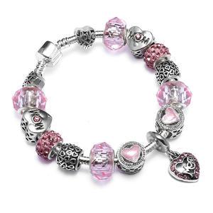 VRIUA Lucky Silver Charm Bracelet with Heart Pendant & Cherry Blossom Charm Pink Murano Glass Beads Friendship Bracelet