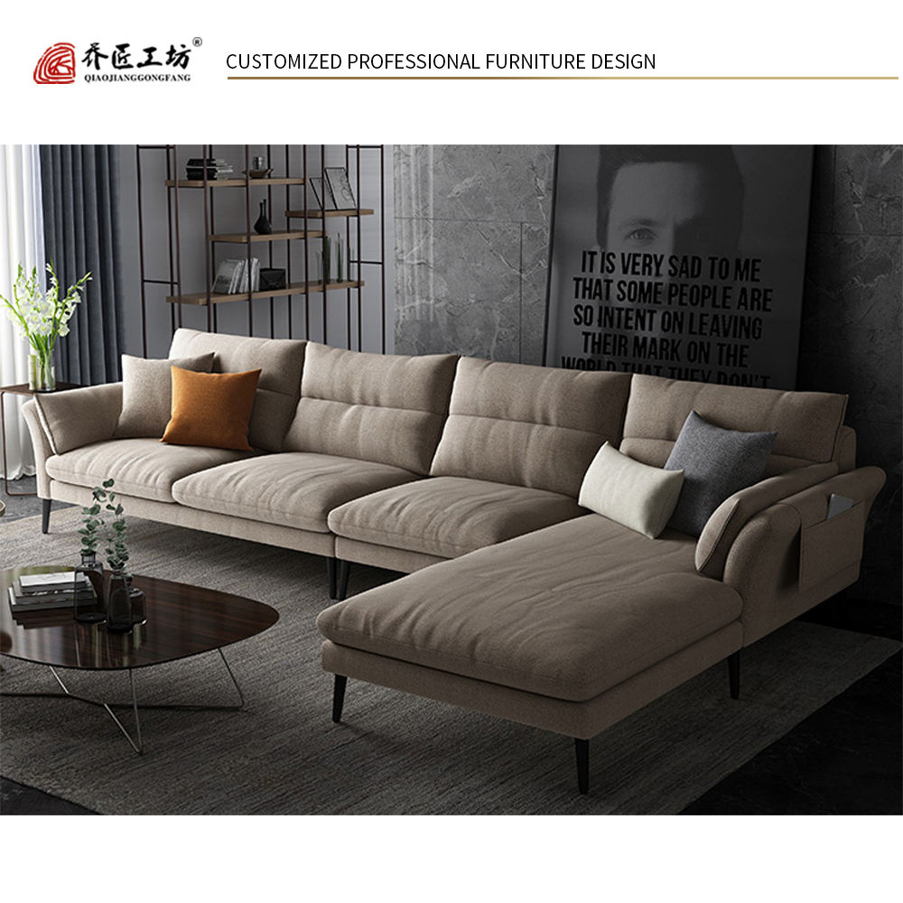 Modern North Europe Style New Design L Shape Couch Living Room Furniture Wood Fabric Corner Sofa Set