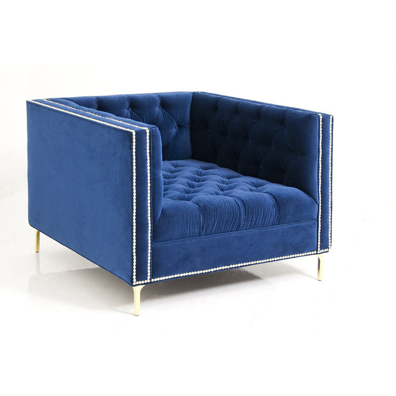modern bule chesterfield sofa for living room high quality fabric sofa for lounge