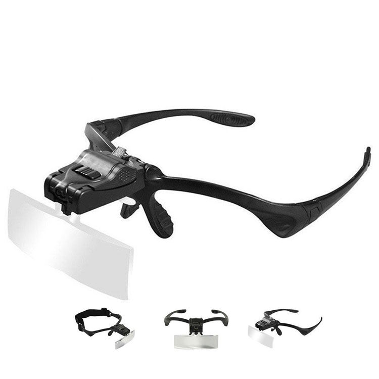5Lens Glass Magnifying Visor Magnifier Glasses With 2 LED Professional Jeweler's Loupe Light Bracket and Headband are Interchang