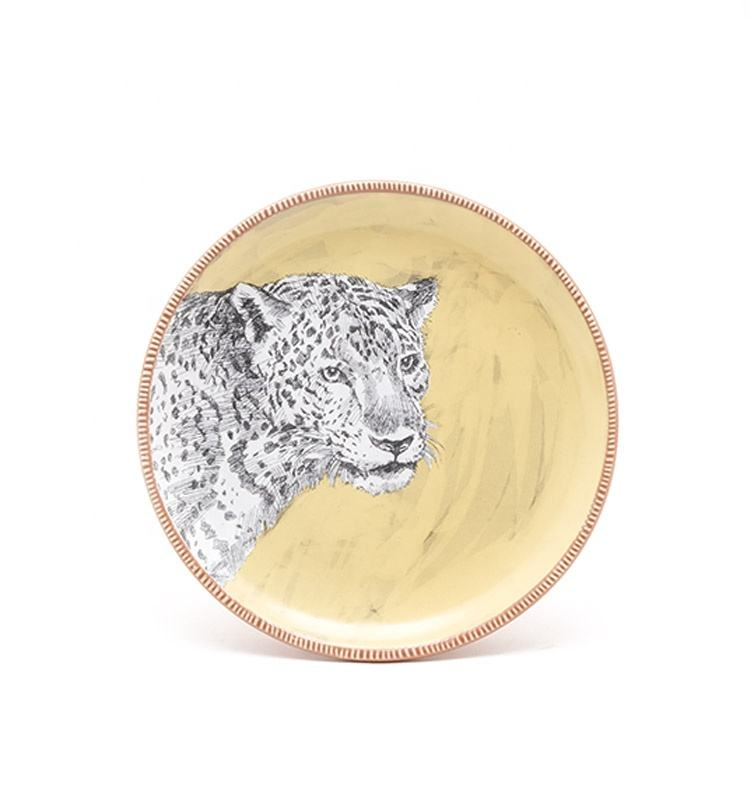 High quality animal zebra tiger printing stoneware plate for kids