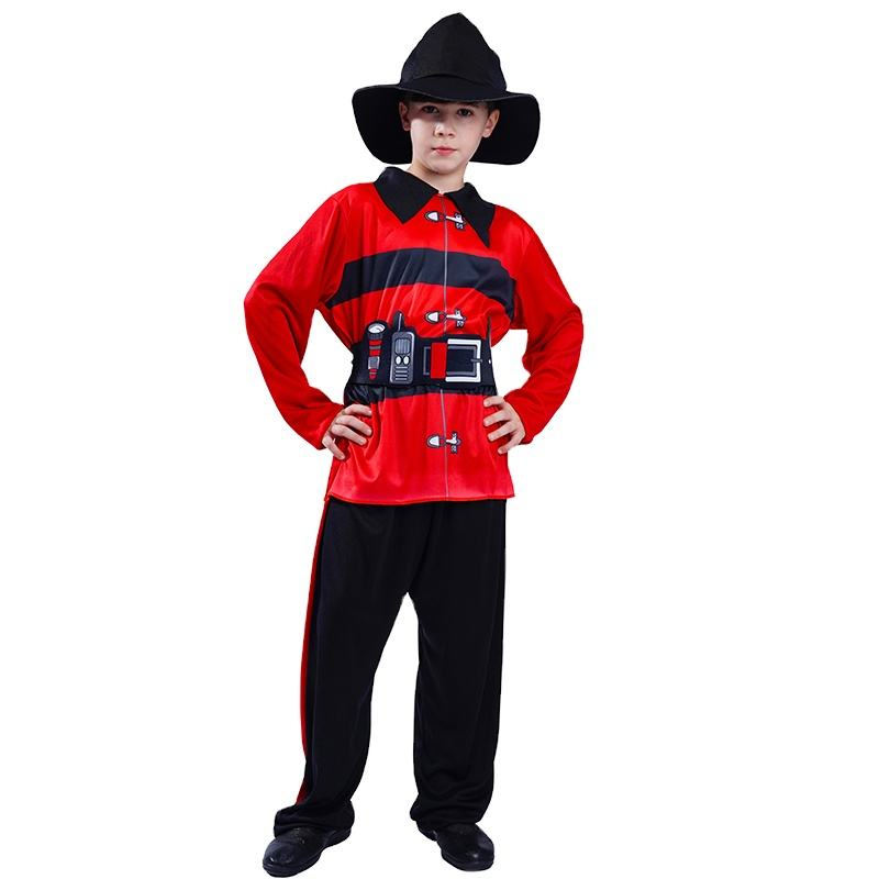 Kid's Cosplay Fire fighter Outfit Carnival Party Cosplay Career Fireman Costume for Boys