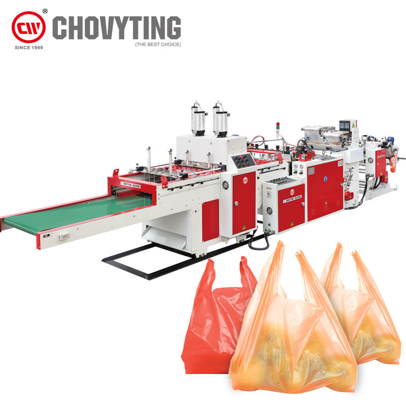 automatic high speed pe biodegradable Carry Polythene Garbage composable shopping t-shirt vest plastic bag making machine price