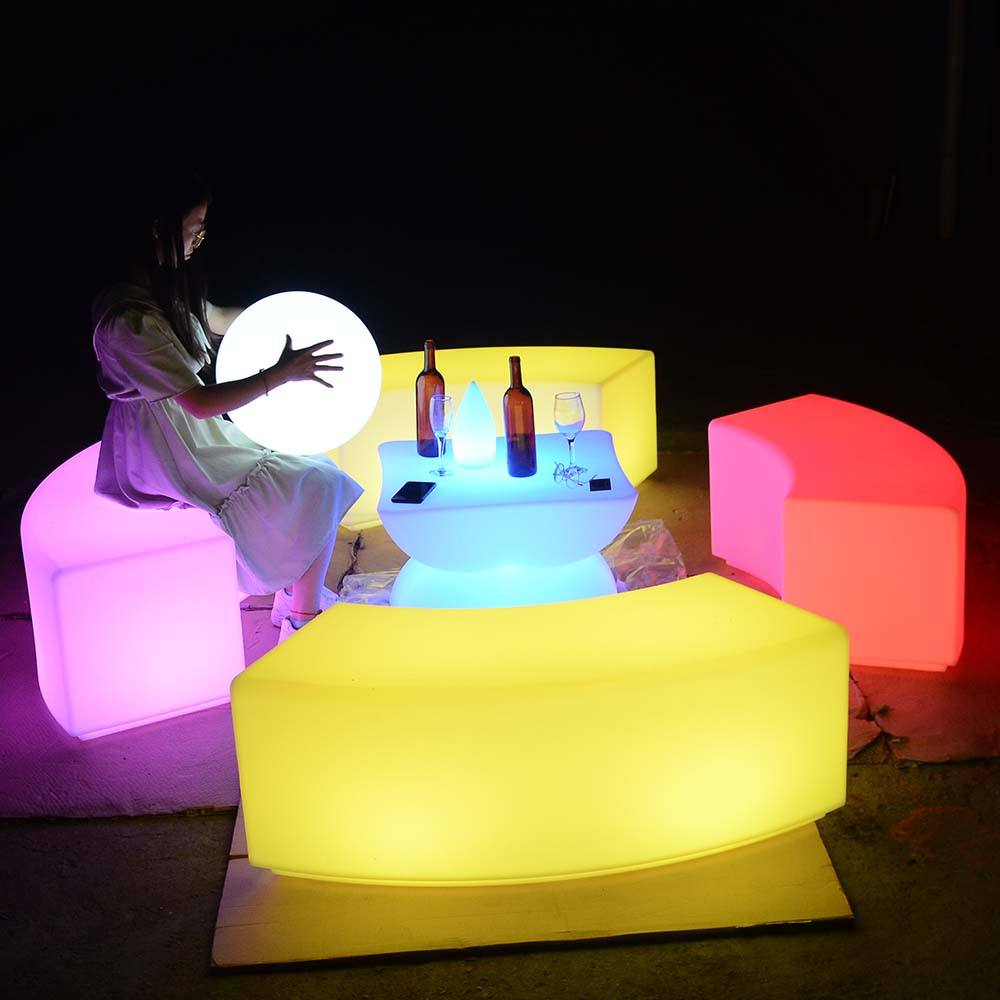 outdoor furniture illuminated 16 colors changing mini led cube illuminated bar table and chairs sofa set