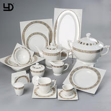 Dinner Set Designs White Restaurant Quality Porcelain+Dinner+Sets Dinner Set Luxury Ceramic for Catering 66 Pieces