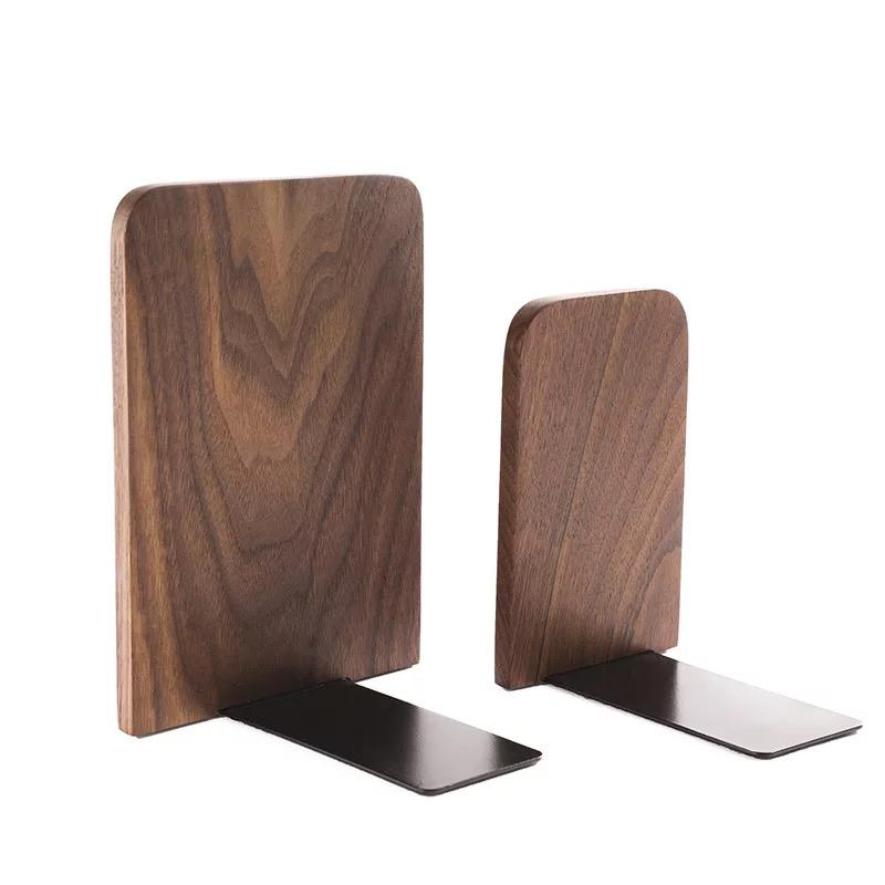 2019 Factory new style Custom logo Vintage Natural Black Walnut Non-Skid Beech Wood Office Desktop bookend for home office