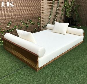 Best selling Hotel garden High-end furniture teak wooden seat hanging sofa outdoor discount patio swing teak wood sofa bed