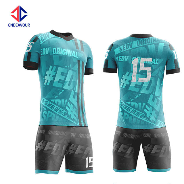 Wholesale Customized new design team Anti-Bacterial blue youth soccer uniform jersey kits for sale
