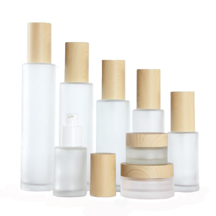 Manufacturer wholesale 20ml 30ml 40ml 60ml 80ml 100ml 120ml wood grain cosmetics spray bottle glass lotion bottle
