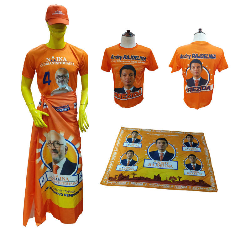 Election Madagascar Polyester men t shirt with printing logo for promotion with cheapest price