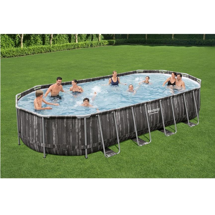 Bestway 5611T Power steel frame pool set Oval wood print swimming pool PVC bracket pool