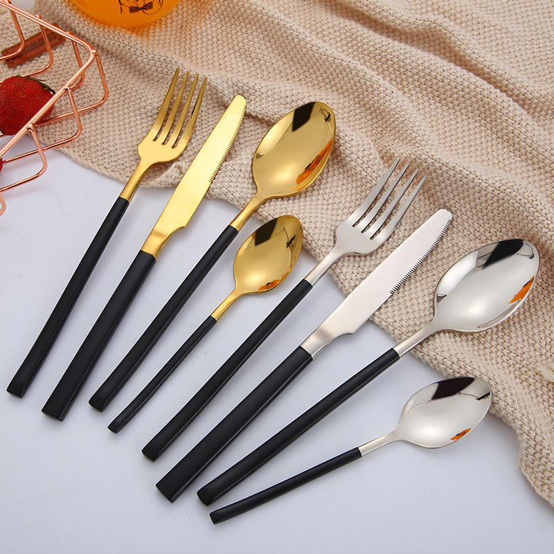 China Manufacturer Factory Direct Sale Household Stainless Steel Cutlery Titanium Coating Cutlery