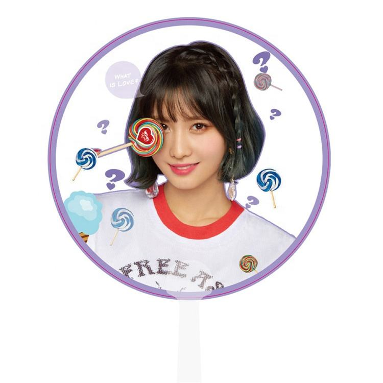 Wholesale Custom Printed Plastic Round Hand Fans Cheering Gift Concert Kpop Star Transparent Hand Fan