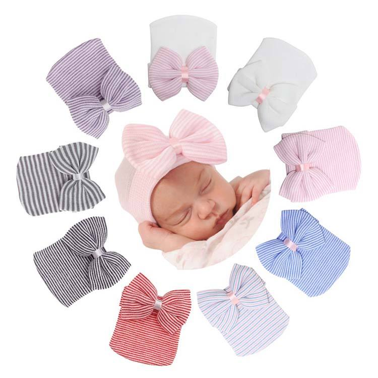 Newborn Hospital Hat Infant 0-3 Months Baby Hat Cap with Big Bow Soft Cute Knot Nursery Beanie