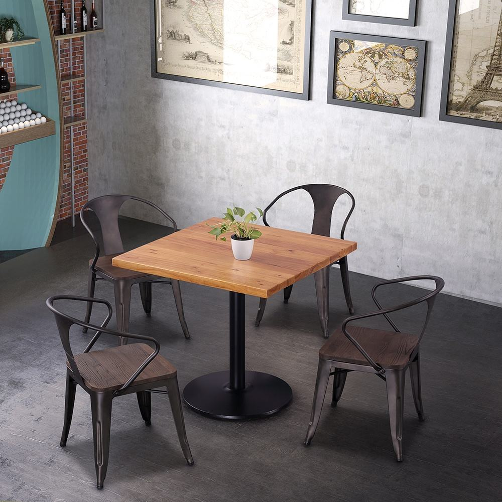 (SP-CT859) Hot sale industrial cafe wood chairs and tables restaurant furniture