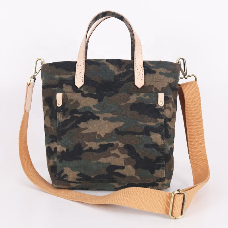 CHANGRONG CUSTOM Heavy Duty Personalized Classic Vintage Camouflage Printed Pattern Leather Handle Waxed Cotton Canvas Tote Bag