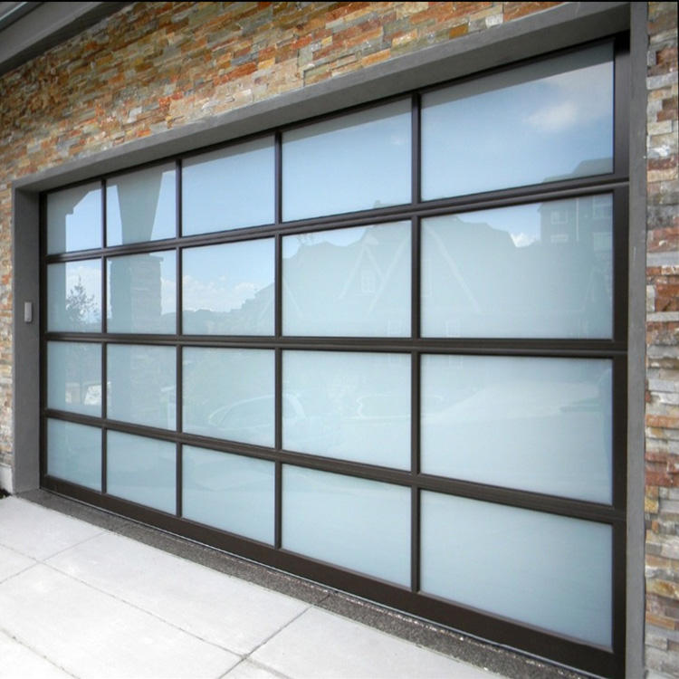 Aluminum alloy material frosted glass modern new black sectional panel garage door
