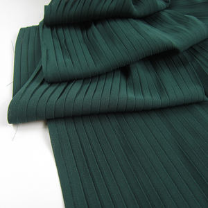 Factory price solid dyed accordion pleats 100% polyester pleated chiffon fabric for dress