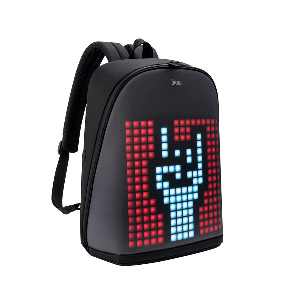 Divoom Pixoo backpack with 256 customized LED front panel also waterproof shockproof LED display backpack
