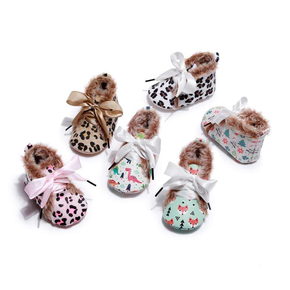 New Baby Infant Newborn Girls Boys Warm Shoes First Walkers PU Leopard Booties girls boys winter cartoon shoes