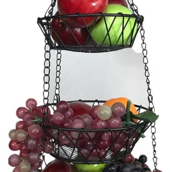 3 Tier Fruit Basket Chain Hanging Space Saving Rustic Country Style Metal Wire Vegetable Storage Basket For Home Decor