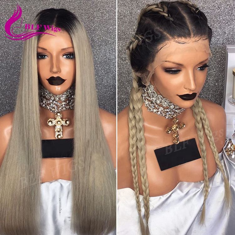 Straight Hair Full Lace Wigs Ombre Ash Blond Remy Brazil Human Hair Wig Ren Front Hộp Bện Tóc Giả