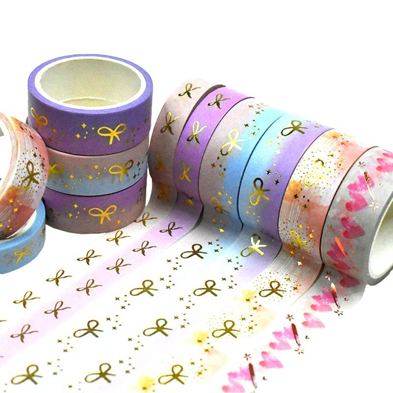 Adhesive Custom printed Make Craft Paper Dot Decorative Color Gold Foil Washi Tape
