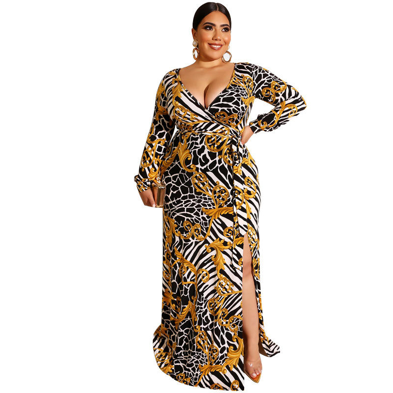 2020 spring women floral print plus size dress maxi dress with tie belt