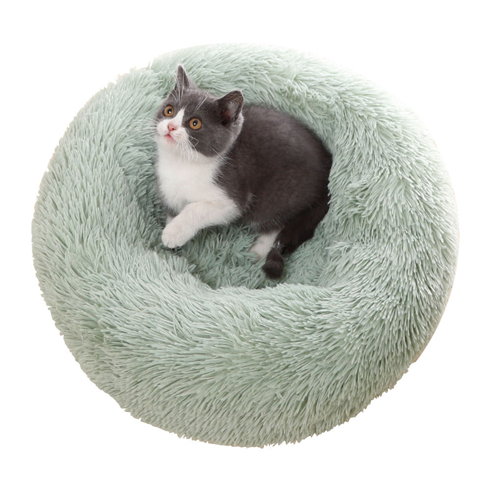 ZMaker Wholesale Luxury Donut Pet Beds for Dogs Cats Fluffy Fur with Waterproof Bottom