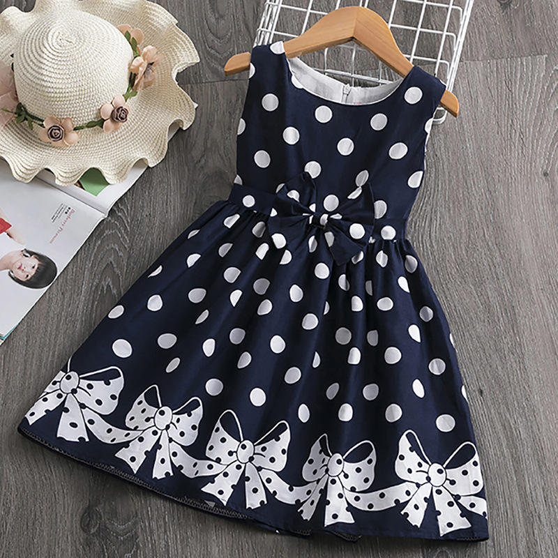 3-12 Years Girls Polka-Dot Dress 2020 Summer Sleeveless Bow Ball Gown Clothing Kids Baby Princess Dresses Children Clothes