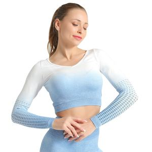 Gradient color belly button tight-fitting quick-drying hollow sports fitness clothes running long-sleeved yoga clothes