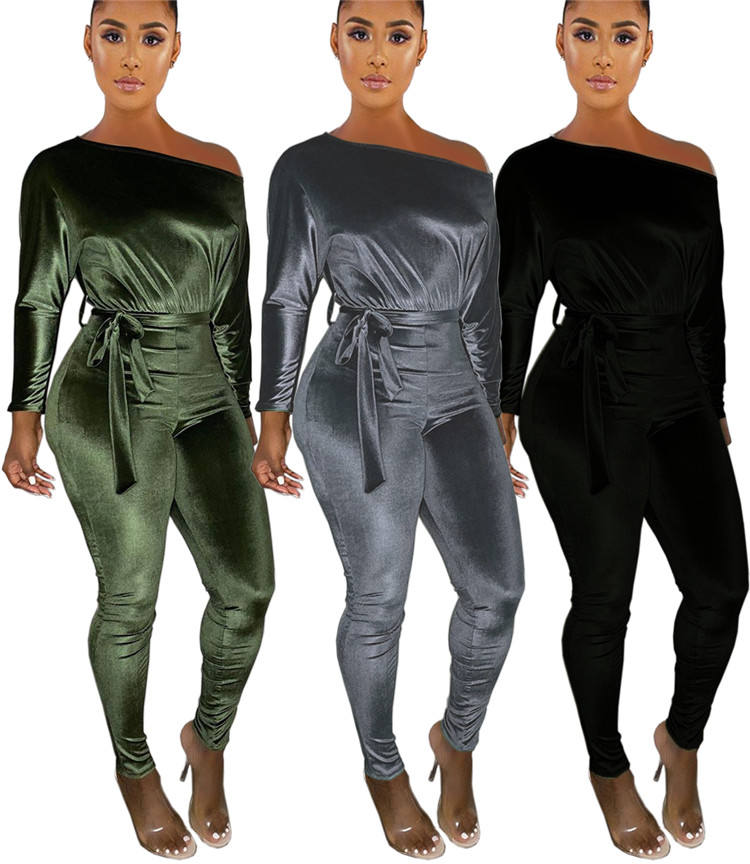 New Arrival Ladies Jumpsuits Rompers Pants Velvet Cozy One Piece Fall Long Sleeve Sexy Club Wear Custom Women Jumpsuit