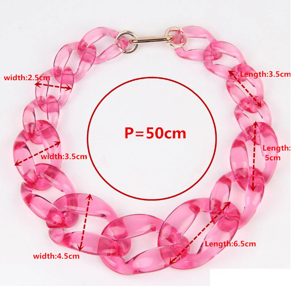 fashion women clear acetic acid clear acrylic statement chunky chain link choker necklace resin jewelry