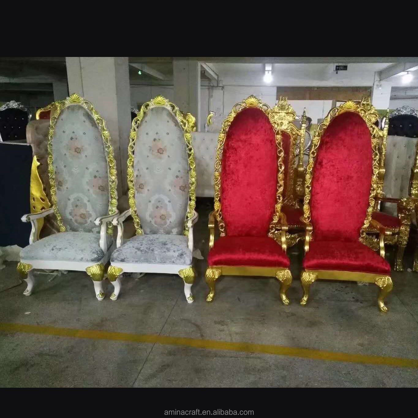 Baroque White Gold High Back cheap leather Queen King Throne Wedding Chairs