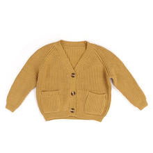 Comfortable Children Boutique Sweater Coat Baby Clothing Pure Color Cardigan Sweater Jacket with Pockets and Buttons