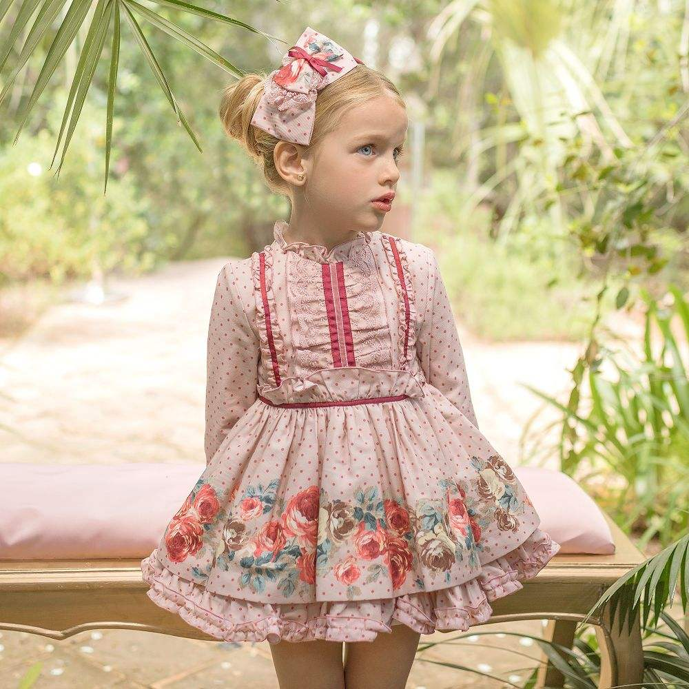 Kids clothing lace ruffles Spanish vintage style rose flower children dresses