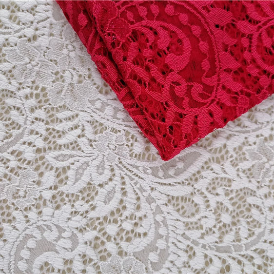 Nylon For Wedding Dress Bridal Lace Fabric Beaded Trim Lace Fabrics